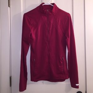 Red Full Zip Jacket with Thumb Holes